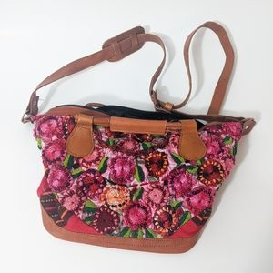 Embroidered bag floral faux leather medium